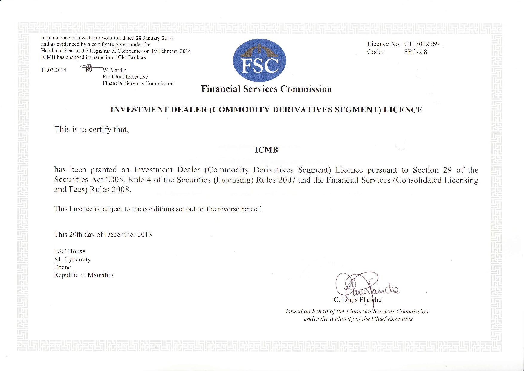 Offshore forex licence